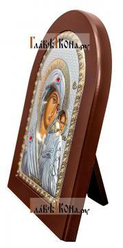 Казанская Божия Матерь, серебряная икона в деревянной рамке, артикул mae1106 - вид сбоку