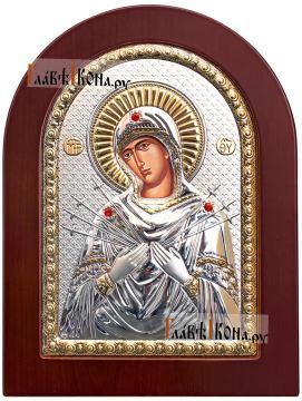 Семистрельная Божия Матерь, греческая серебряная икона, размер 15х21 см