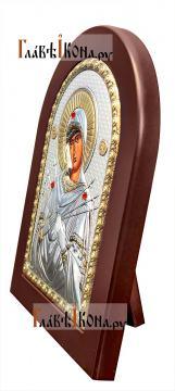 Семистрельная Божия Матерь, греческая серебряная икона, артикул mae1114 - вид сбоку