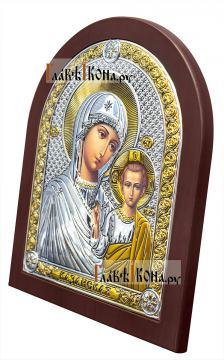 Казанская Божия Матерь, серебряная икона с деревянной рамкой, артикул 42003 - вид сбоку