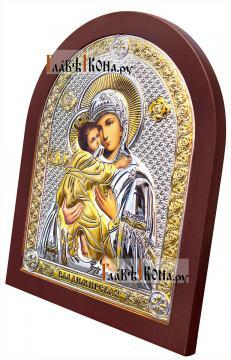 Серебряная икона Владимирской Божией Матери, вид сбоку