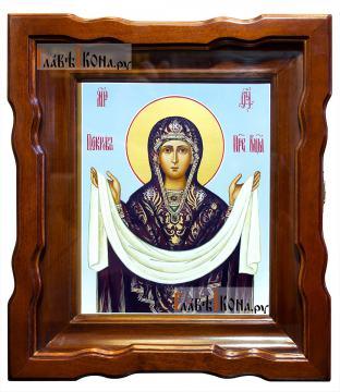 Покров Пресятой Богородицы икона артикул 275 - один из вариантов оформления в киот