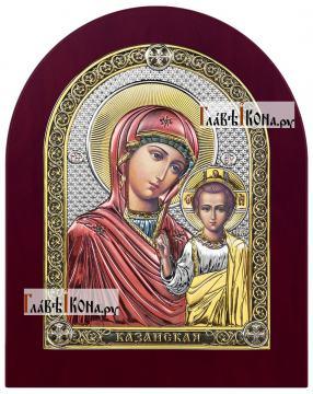 Казанская Божия Матерь, икона в посеребренном окладе с эмалью на дереве