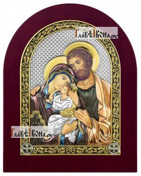 Святое Семейство, икона в серебряном окладе, с эмалью, на дереве