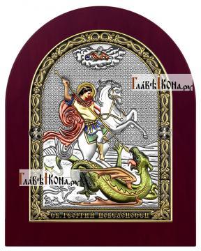 Георгий Победоносец, икона в посеребренном окладе с эмалью на дереве