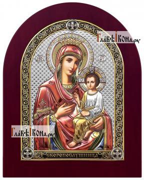 Скоропослушница Божия Матерь, икона в посеребренном окладе с эмалью на дереве