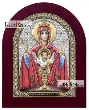 Неупиваемая Чаша Божия Матерь, икона в посеребренном окладе с эмалью на дереве