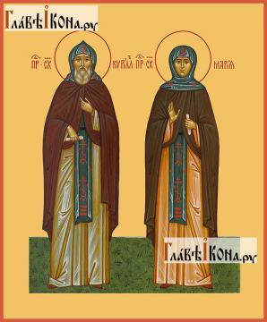 Преподобные Кирилл и Мария Радонежский, печатаня икона артикул 90044