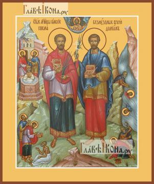 Косьма и Дамиан бессребреники, икона печатная, артикул 90352