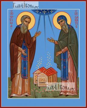 Зосима и Савватий Соловецкие (пчеловоды), икона на дереве печатная