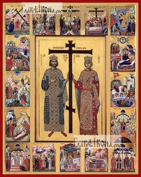 Константин и Елена, с житием, печатная на дереве икона