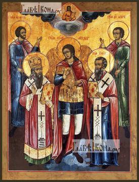 Михаил архангел, Флор и Лавр, Модест Иерусалимский, Власий Севастийский, печатная на дереве икона
