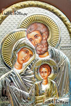 Святое Семейство, икона из серебра, производство Греции - лики святые