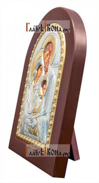 Святое Семейство, икона из серебра, производство Греции - вид сбоку