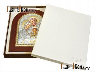 Святое Семейство, икона из серебра, производство Греции - вид в упаковке