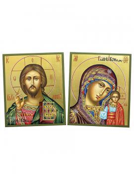 Венчальная пара икон, писанных темперой на досках, артикул 023