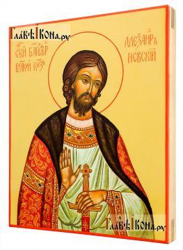 Александр Невский, писаная икона. без золочения, артикул 6253 - вид сбоку