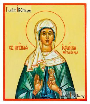 Писаная икона Иоанны Мироносицы (без золочения), размер 9х10 см