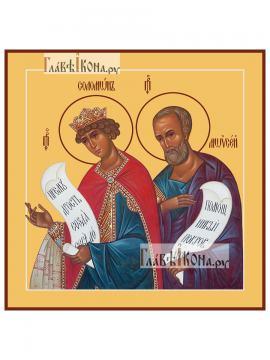 Святые пророки Соломон и Моисей, печатная на доске икона, артикул 90341