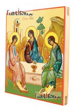Пресвятая Троица, писаная икона на деревянной доске (без золочения), артикул 908 - вид сбоку