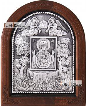 """Серебряная икона Знамение """"Крская-Коренная"""", артикул 11156"""