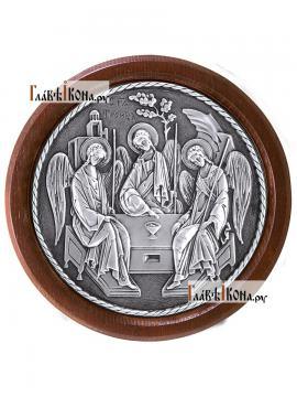 Троица, икона из серебра круглая в рамке, артикул 11142