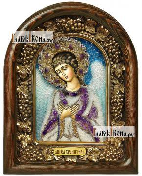 Ангел Хранитель, с фиолетовыми камнями, дивеевская икона из бисера