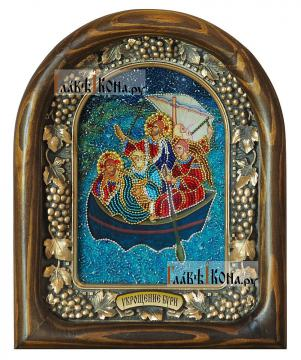 Укрощение бури Иисусом, дивеевская икона из бисера