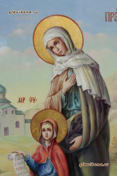 Анна праведная с Богородицей, рукописная икона маслом