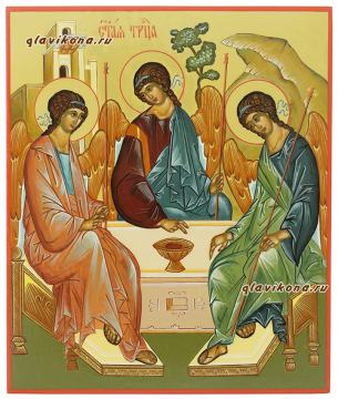 Троица, писаная икона, размер 21х25 см