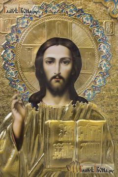 Образ Спасителя, икона в ризе храмовая 60х80 см - лик
