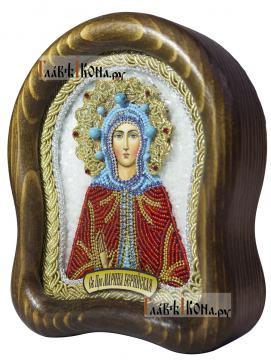 Святая Марина, икона бисером, размер 14,5х17 см - вид сбоку