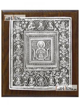 """Серебряная икона Божией Матери """"Знамение"""", артикул 11151"""
