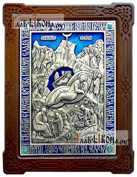 Рождество Христово, серебряная икона со стразами и эмалью (Россия)
