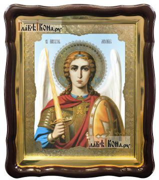 Архангел Михаил с мечом (поясной), аналойная икона в фигурой рамке