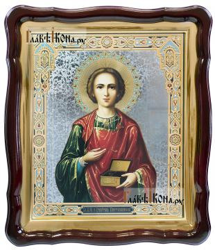 Целитель Пантелеимон, аналойная икона в фигурной рамке