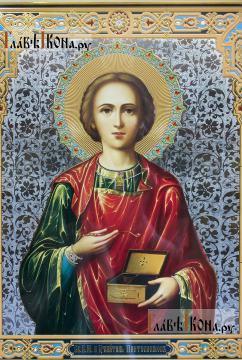 Целитель Пантелеимон, аналойная икона в фигурной рамке - лик образа