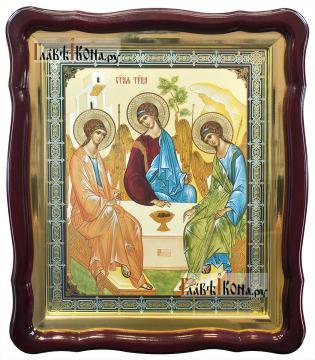Пресвятая Троица, аналойная икона в фигурной рамке