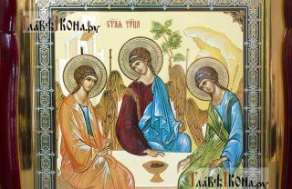 Пресвятая Троица, аналойная икона в фигурной рамке - детали образа