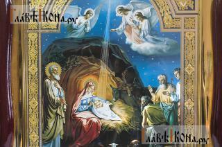 Рождество Христово, аналойная икона в фигурной рамке - детали сюжета