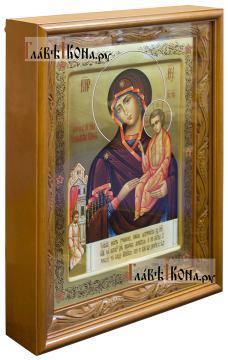 Нечаянная Радость, рукописная икона артикул 5313 - вид в киоте сбоку