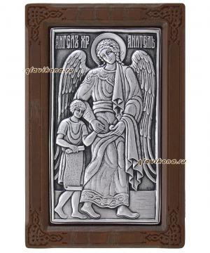 Ангел Хранитель (помогающий ребенку), серебряная икона артикул 11112