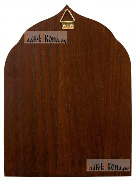 Серфим Вырицкий, икона серебряная в деревянной рамке - вид сзади