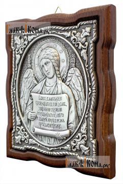 Серебряная икона Ангела Хранителя с молитвой, артикул 11194 - вид сбоку