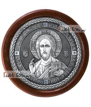 Господь Вседержитель - круглая серебряная икона, артикул 11197