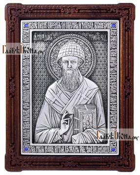 Спиридон Тримифунтский, икона серебряная артикул 11202