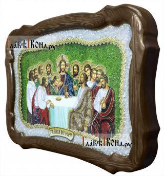 Тайная вечеря, икона из бисера, размер 36х54 см - вид сбоку