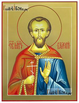Валерий Мелитинский мученик, икона печатная на доске (размер 30х40 см)