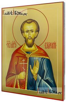 Валерий Мелитинский мученик, икона печатная на доске (размер 30х40 см, вид сбоку)