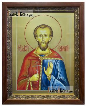 Валерий Мелитинский мученик, икона печатная на доске (размер 30х40 см, вариант оформления в киот)